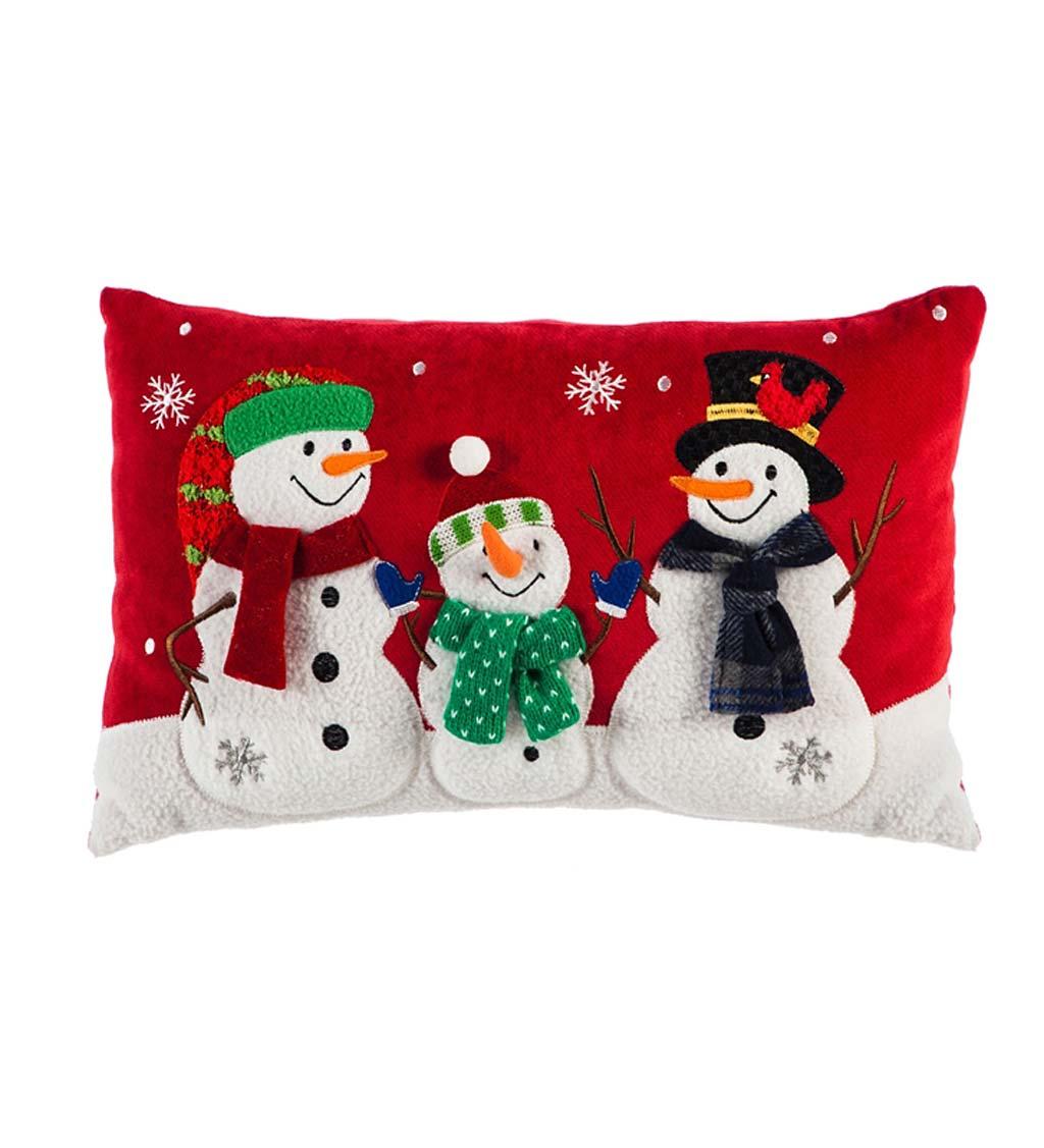 Holiday Snowman Trio Lumbar Throw Pillow Plowhearth