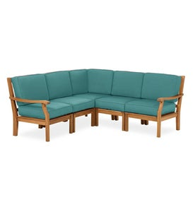 Claremont 5-Piece Sectional with Cushions - Aqua