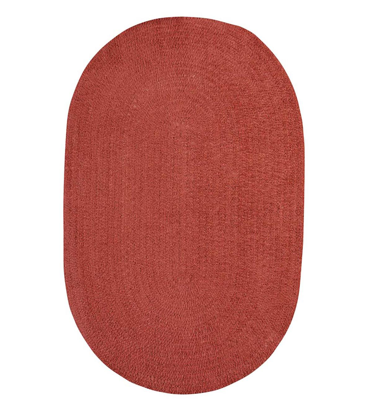 Chenille Oval Braided Area Rug, 2' x 3' - Marsala