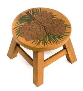 Hand-Carved Wood Pine Cone Footstool