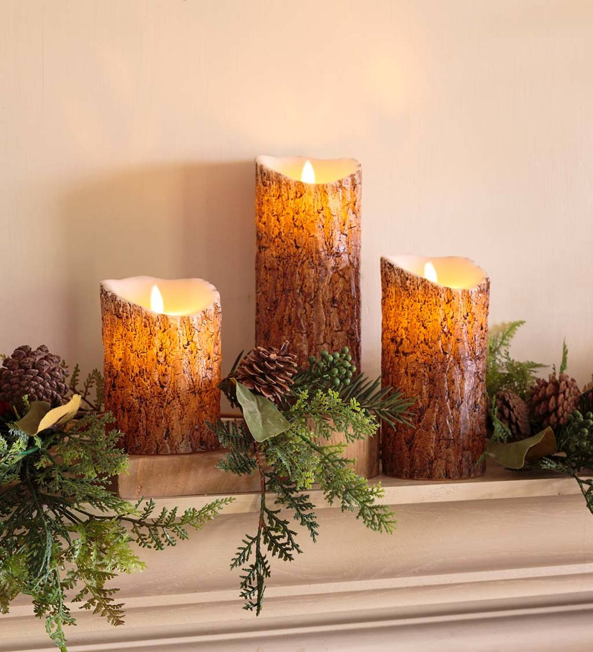 Woodland Flameless LED Candles with Timer, Set of 3