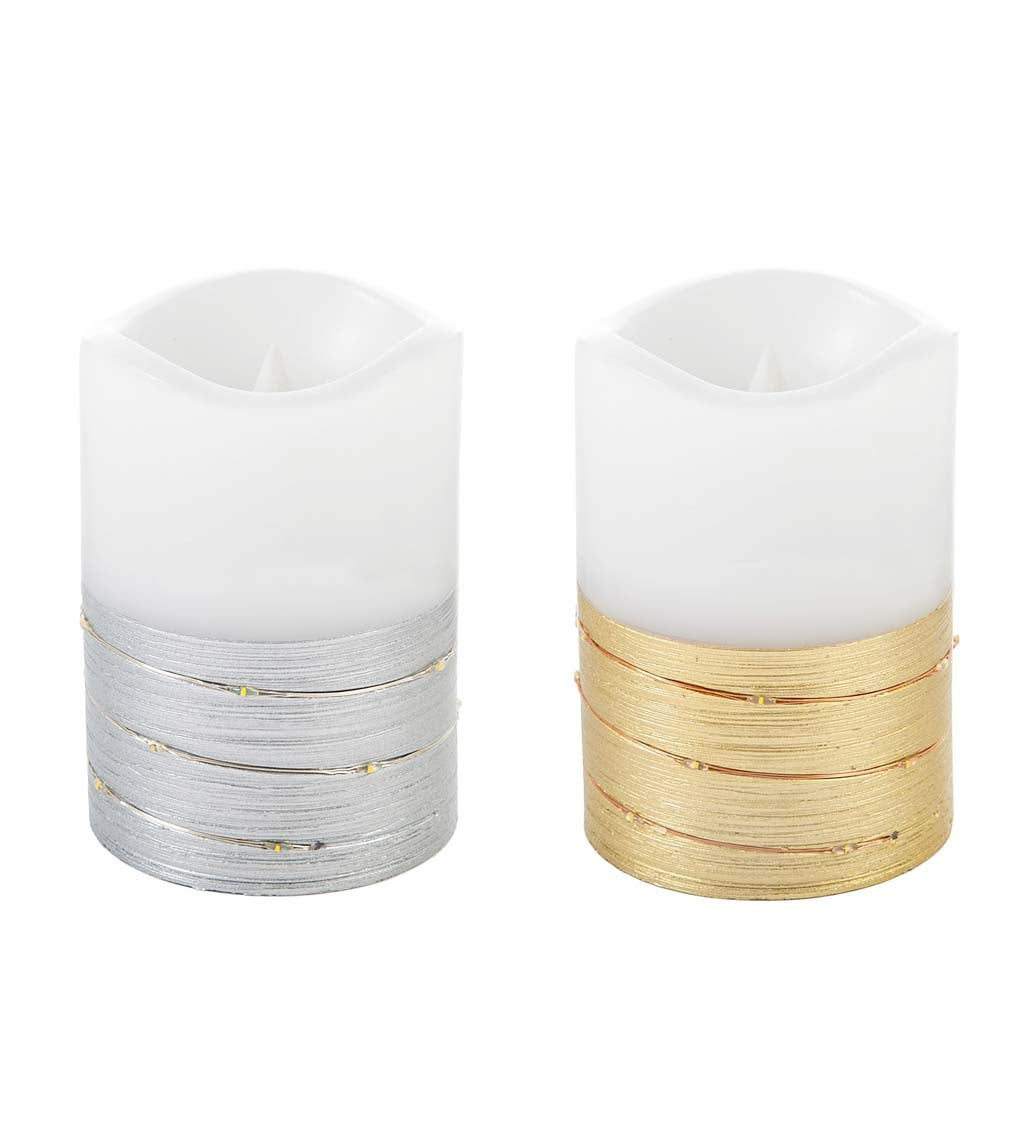 LED Half Metallic Wire Wrapped Flameless Pillar Candles, Set of 2 swatch image