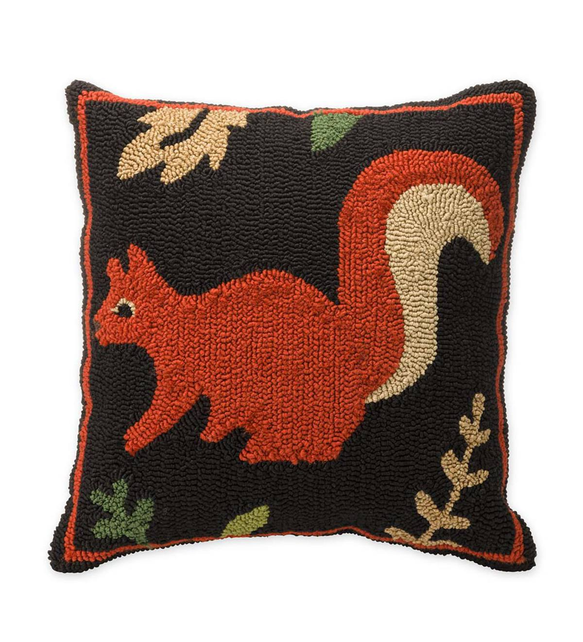 Indoor/Outdoor Woodland Hooked Pillow with Squirrel