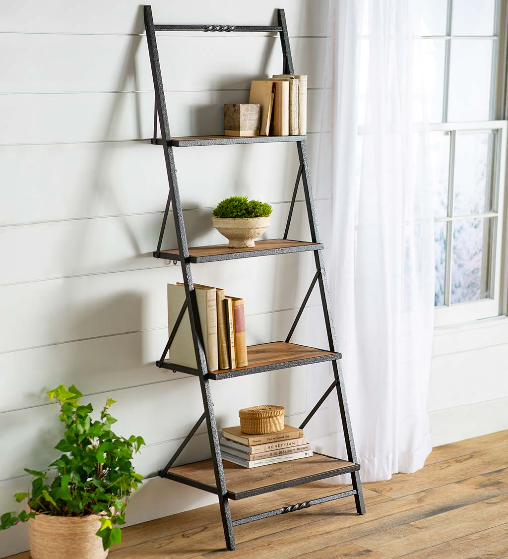 Deep Creek Reclaimed Wood Ladder Wall Shelf Display/Storage
