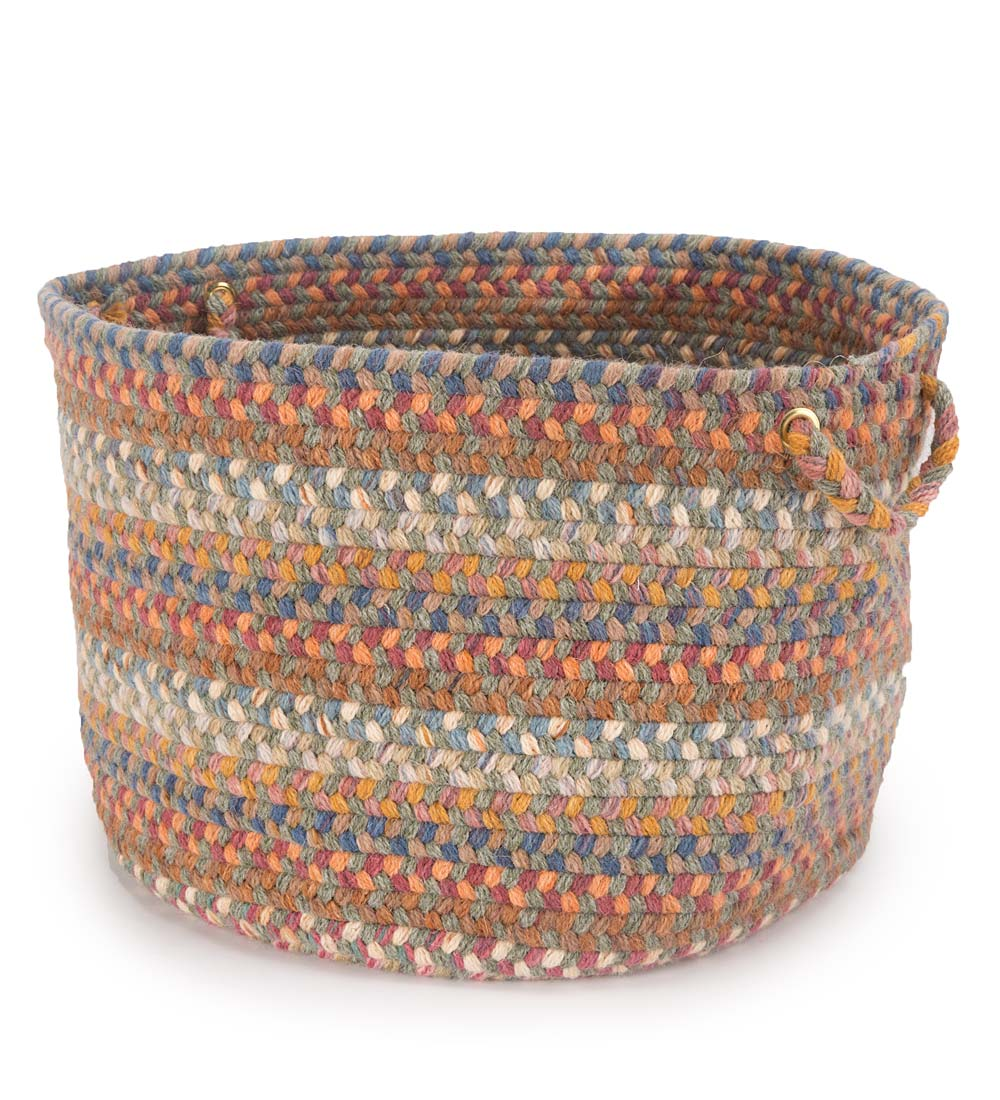 "Blue Ridge Wool Braided Basket, 18""dia. x 12""H swatch image"