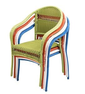 Colorful Wicker Stacking Chairs And Folding Tables