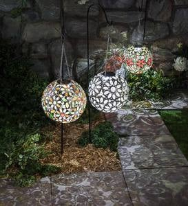 Hanging Solar Multi Butterfly Jewel Ball