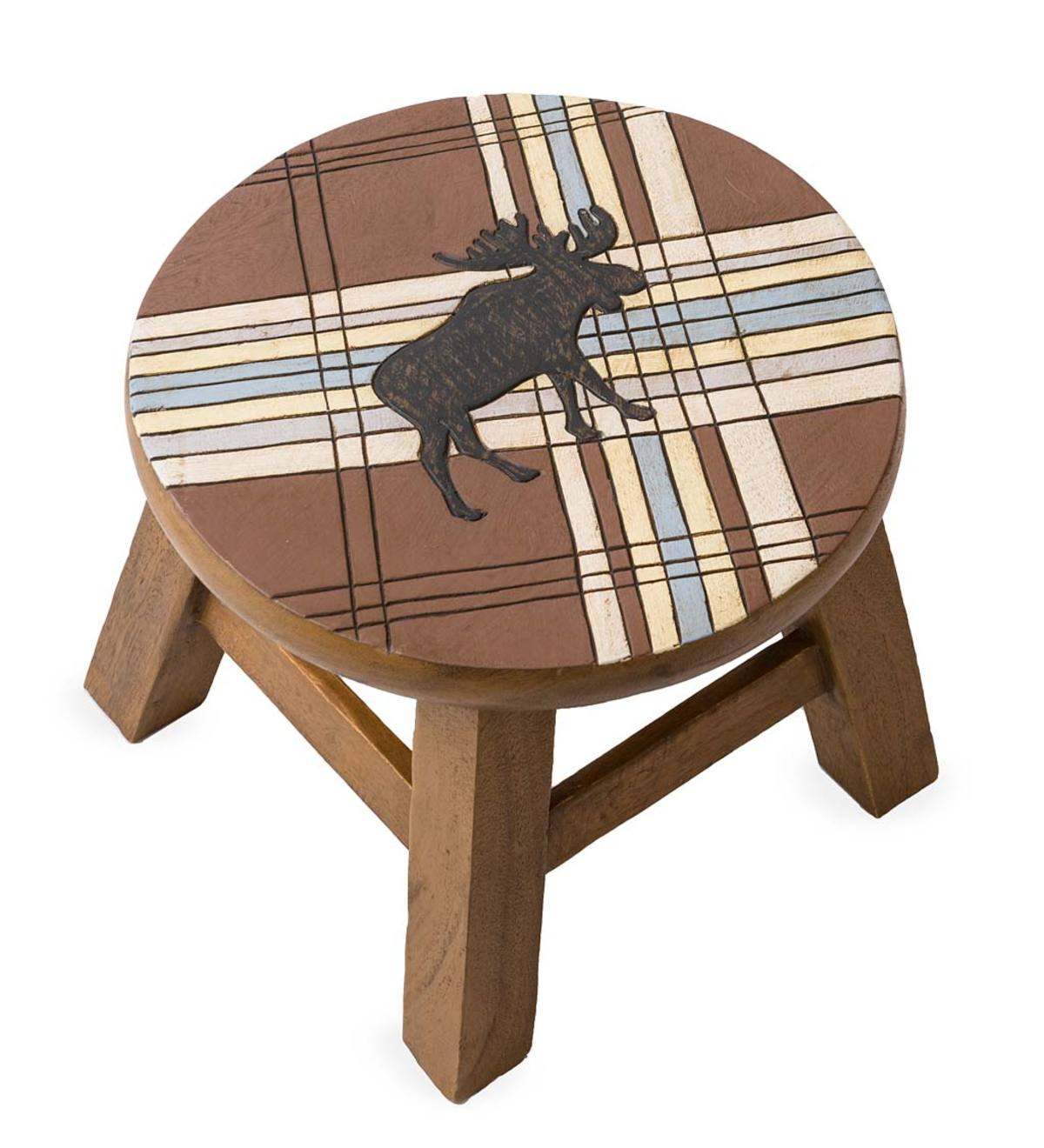 Hand-Carved Acacia Wood Moose with Stripes Footstool