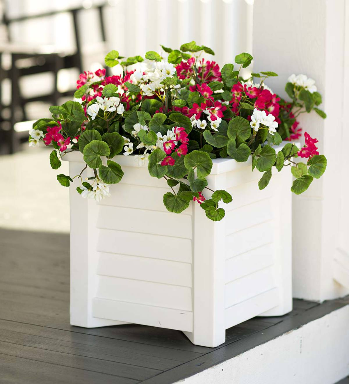 Faux Red and White Geranium Urn/Planter Filler