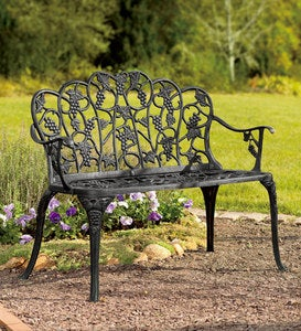 Grapevine Garden Bench in Powder-Coated Aluminum - Black
