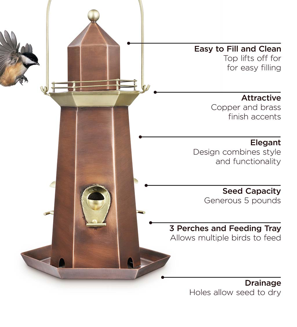 Metal Lighthouse Bird Feeder with Copper and Brass Finish