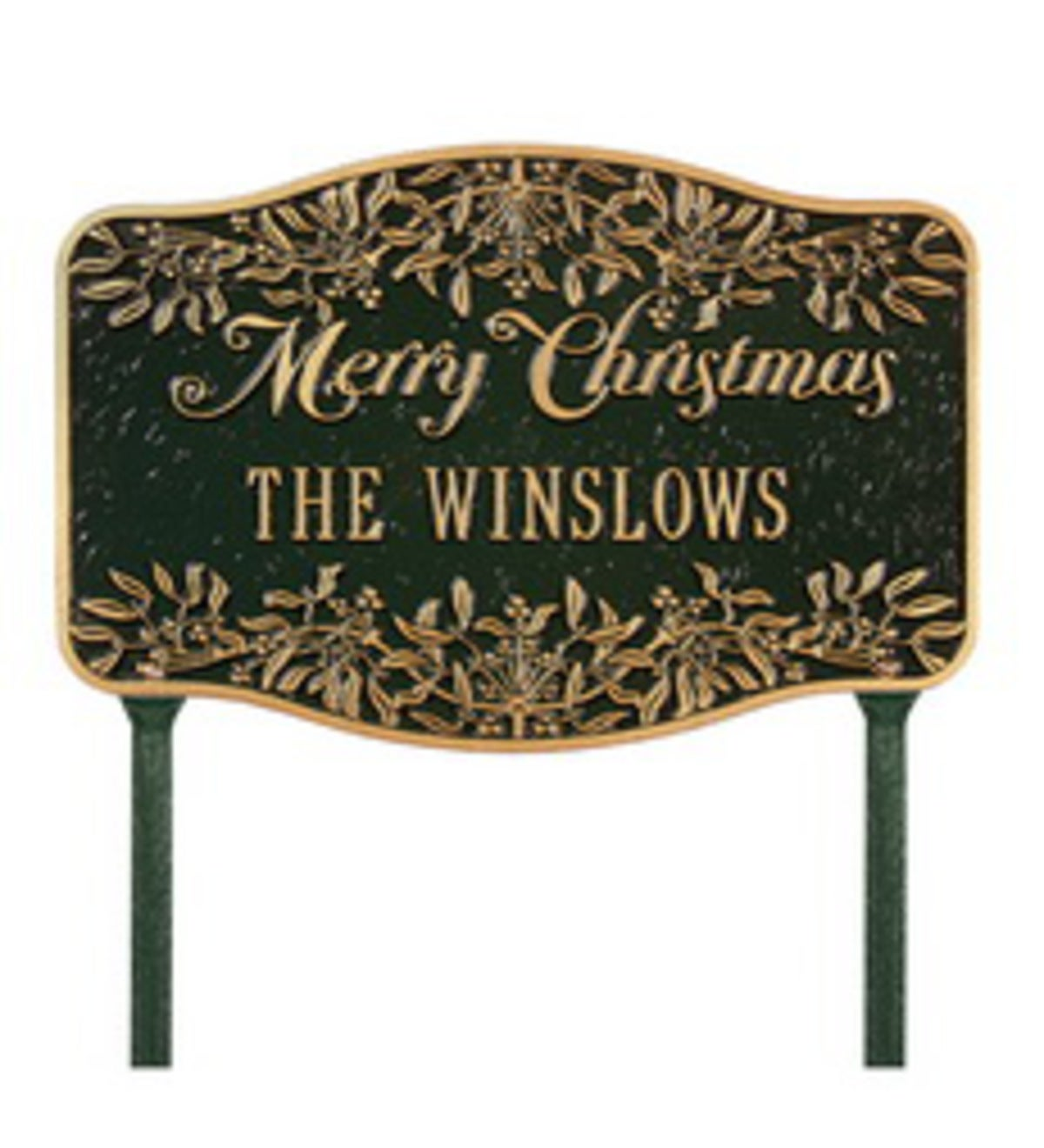 American-Made Personalized Merry Christmas Yard Sign In Cast Aluminum - Green