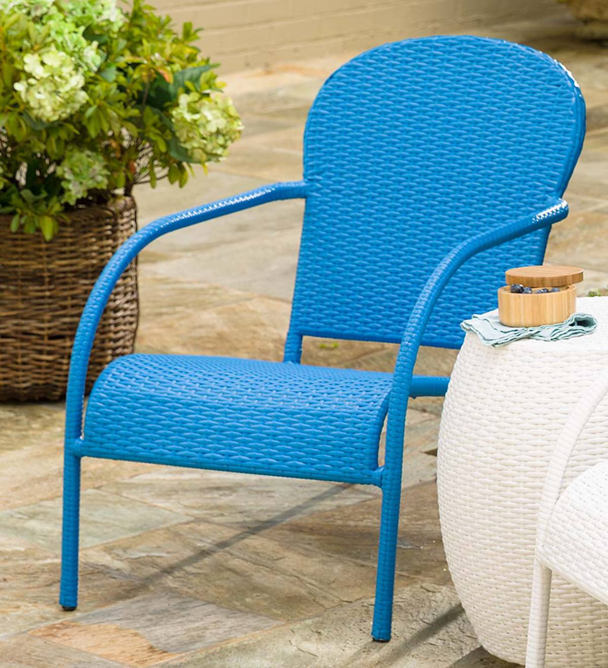 Surprising Stackable Outdoor Wicker Lounge Chair Blue Plowhearth Cjindustries Chair Design For Home Cjindustriesco