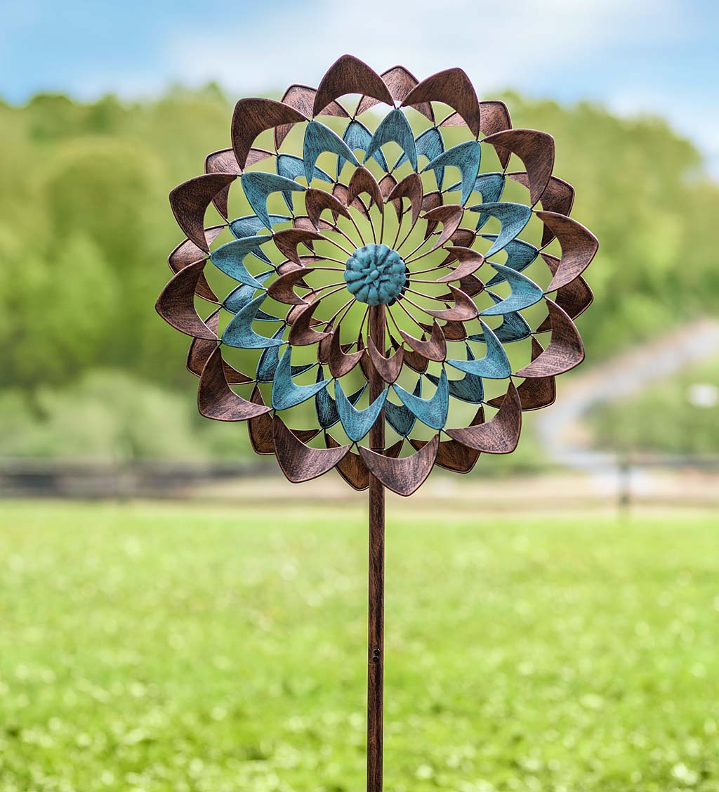 Copper and Blue Zinnia Wind Spinner