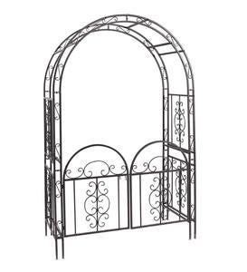 Montebello Scrollwork Metal Garden Arbor with Gate