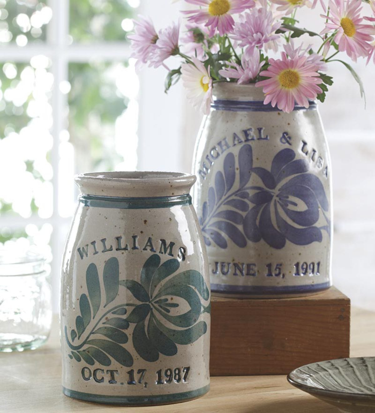 Personalized Stoneware Wedding Crock Decorative Accents