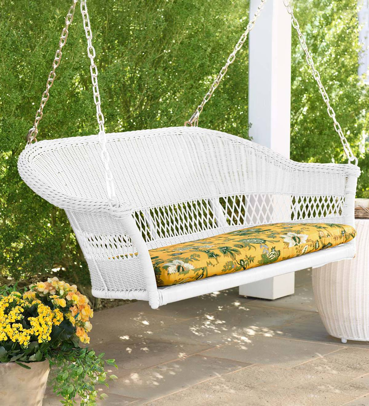 Easy Care Resin Wicker Swing - White