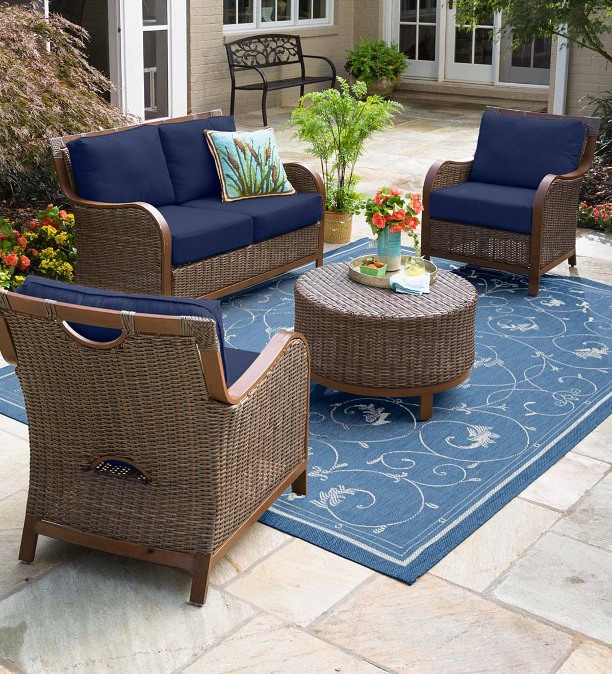 Urbanna Premium Wicker Four Piece Set with Luxury Cushions - Midnight Navy