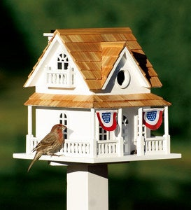 Wooden Birdhouse With Patriotic Bunting and Pedestal Set