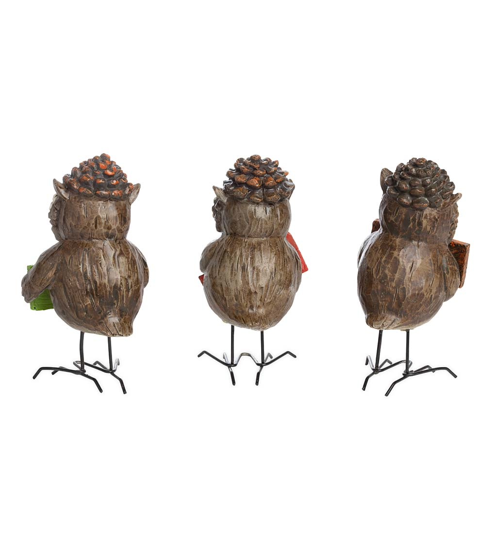 Indoor/Outdoor Harvest Owls, Set of 3