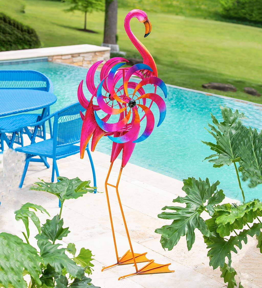 Free-Standing Pink Flamingo Wind Spinner
