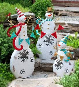 Peace, Hope and Joy Lighted Metal Snowmen, Set of 3