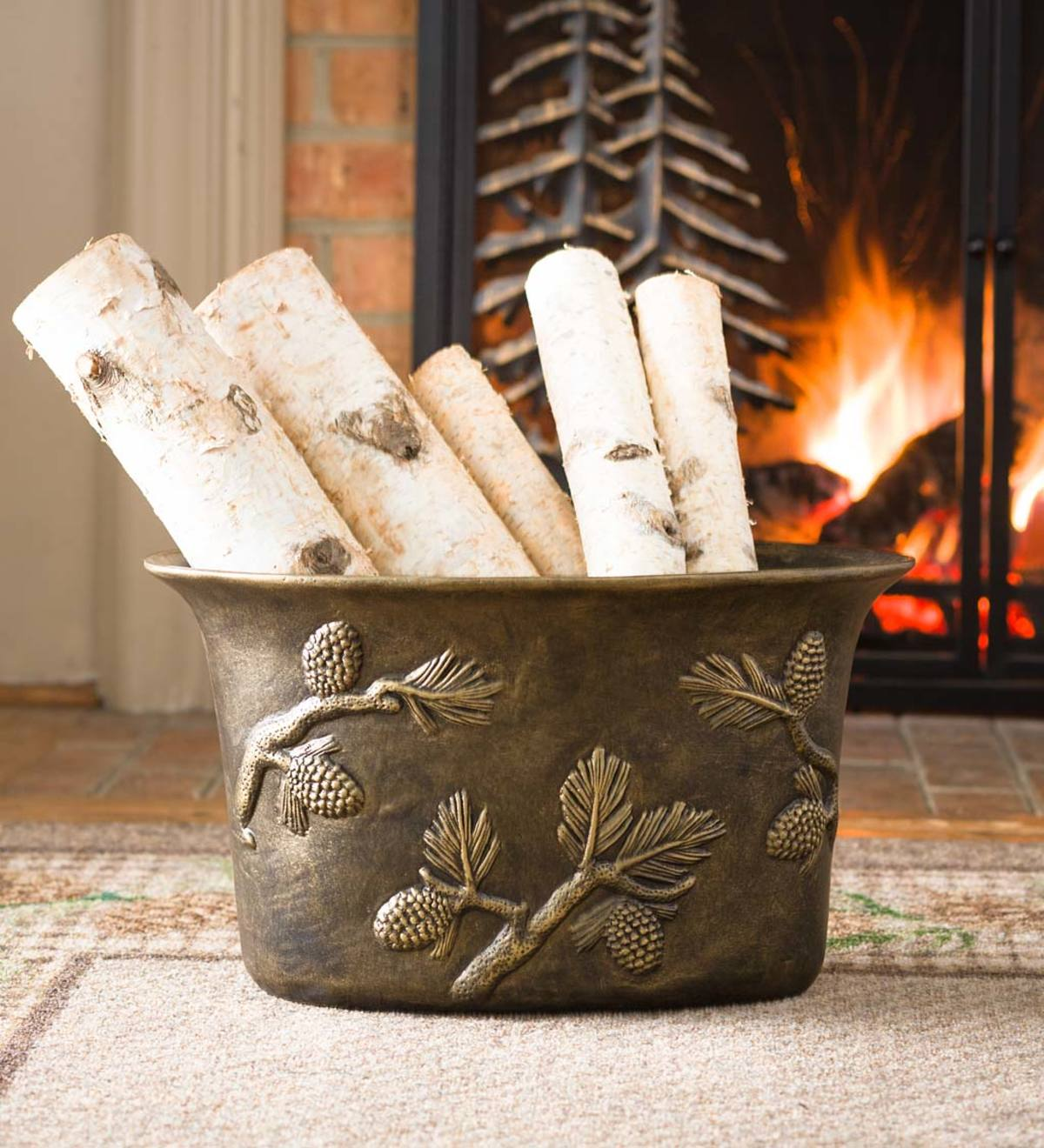 Pine Cone Cast Aluminum Firewood Bucket Plowhearth