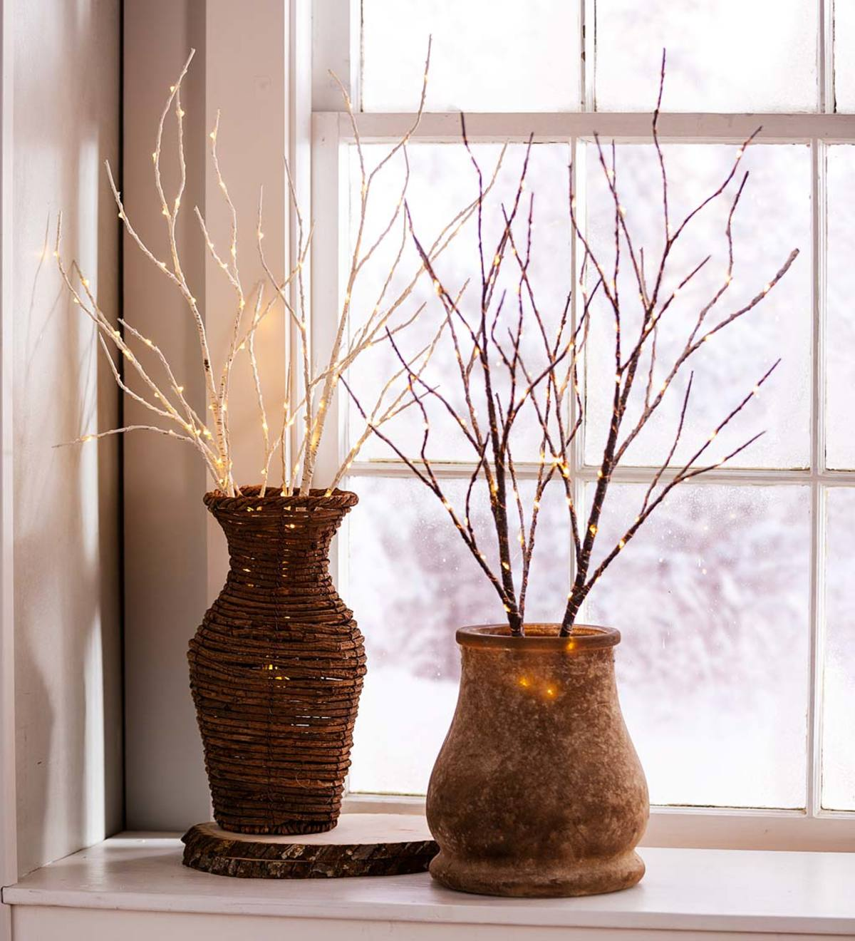Indoor Outdoor Lighted Birch Branches Set Of 2 Brown Plowhearth
