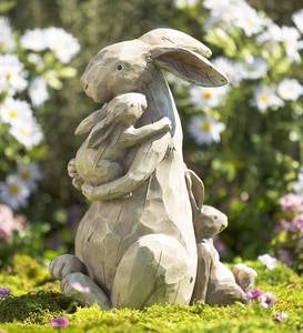 Momma and Baby Bunnies Garden Statue