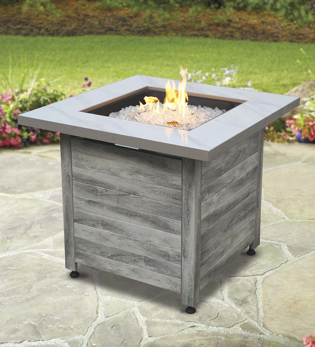 Image of: Tidewater Propane Gas Fire Pit With Tabletop Insert Fire Glass And Cover Plowhearth