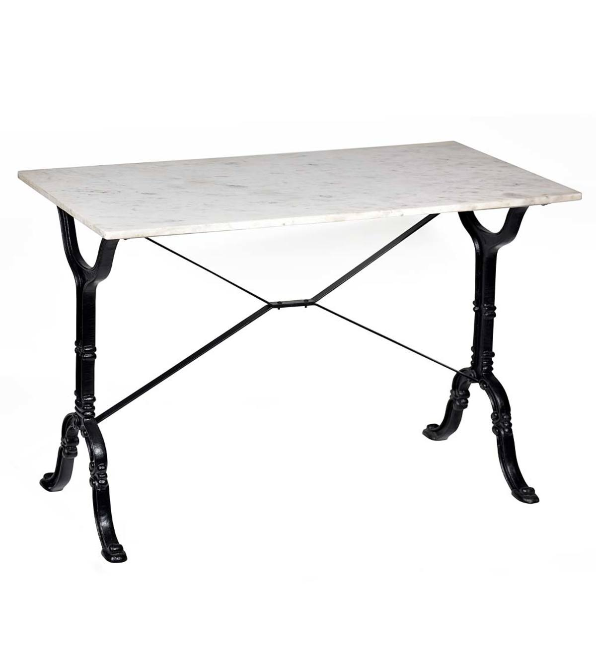 "36""-High Marble-Top Cast Iron Console Table - White"