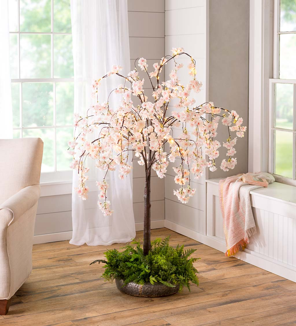 Indoor/Outdoor Electric Lighted Faux Weeping Cherry Trees