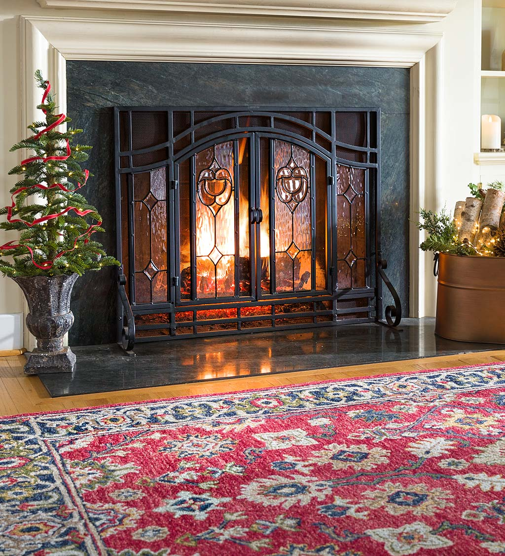 Small Two-Door Fireplace Screen with Glass Floral Panels