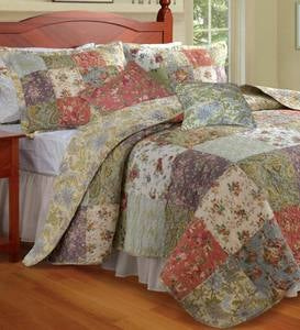 Cotton Wildflower Patchwork Block Quilt Bonus Set
