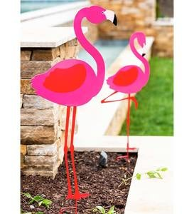 Metal Flamingo Decorative Garden Stakes, Set of 2