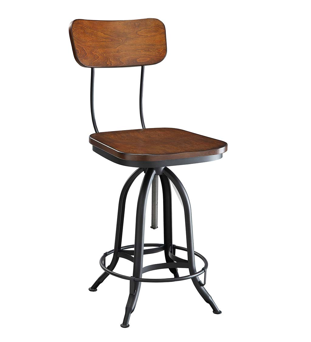 Deluxe Adjustable-Height Wood and Metal Stool with Back Rest - Chestnut