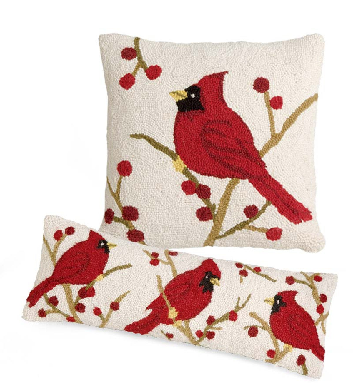 Set of 2 Cardinal Hand-Hooked Wool Cardinal Pillows