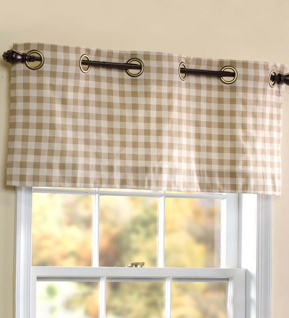 "Thermalogic™ Check Grommet-Top Valance, 40""W x 15""L"