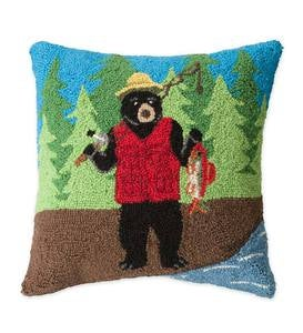 Hand-Hooked Wool Fishing Bear Throw Pillow