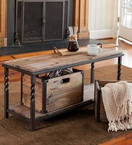 Deep Creek Bench/Table with Metal Frame and Rustic Wood