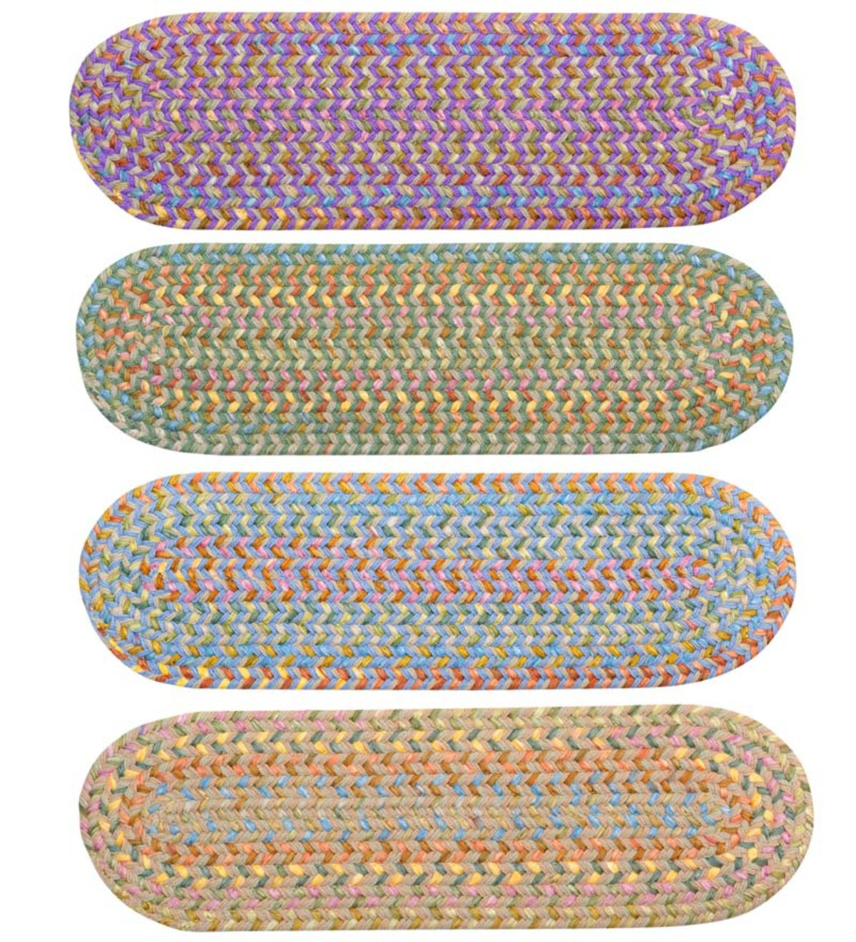 "Floral Garden Braided Stair Tread, 8"" x 28"""