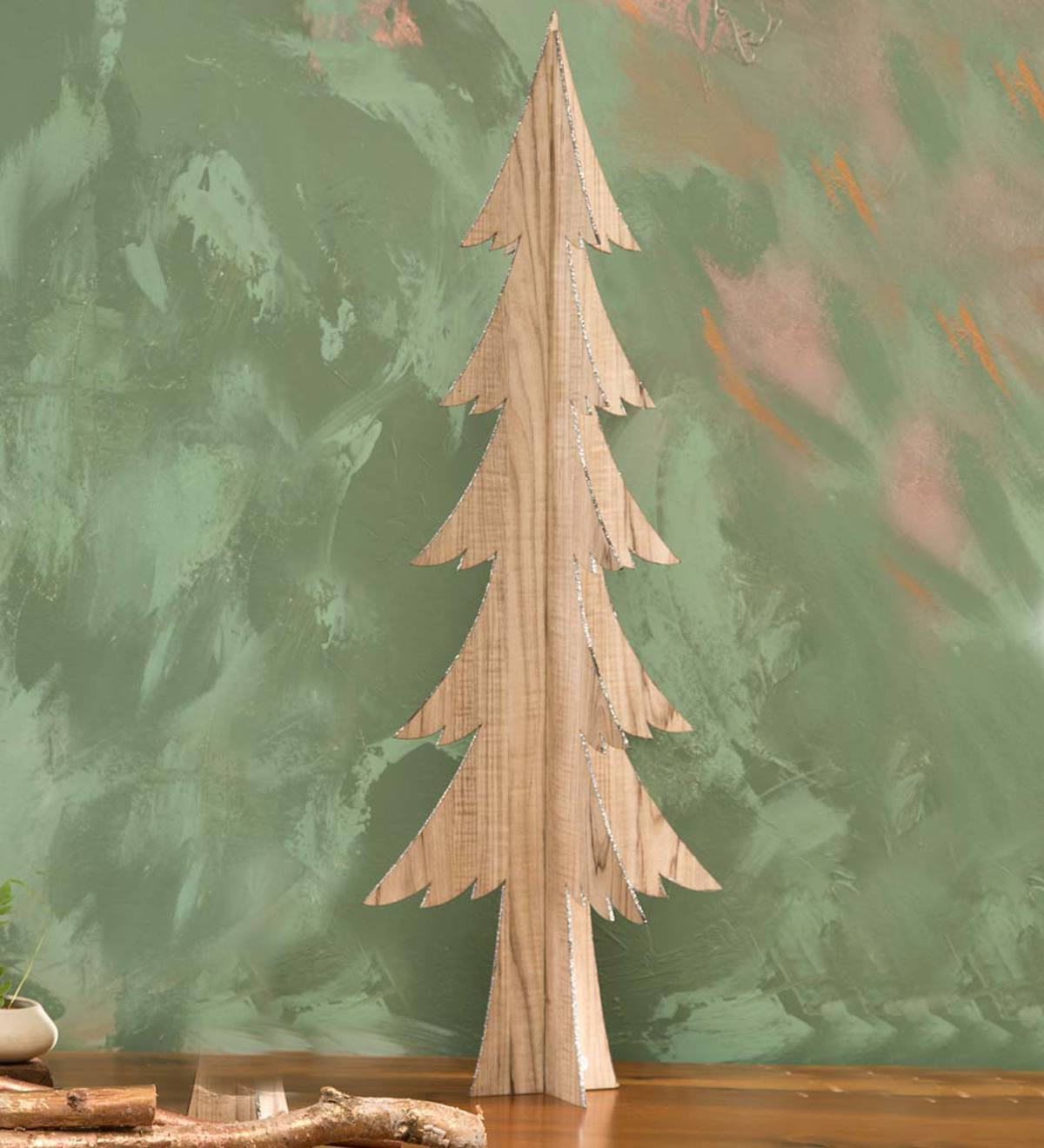 large wooden tabletop tree - Large Wooden Christmas Decorations