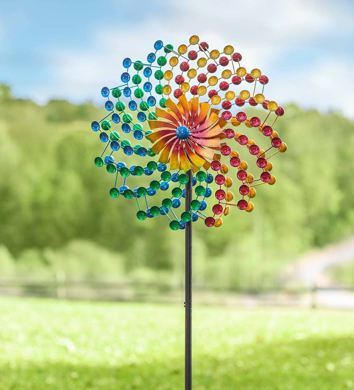 Rainbow Cups Metal Wind Spinner