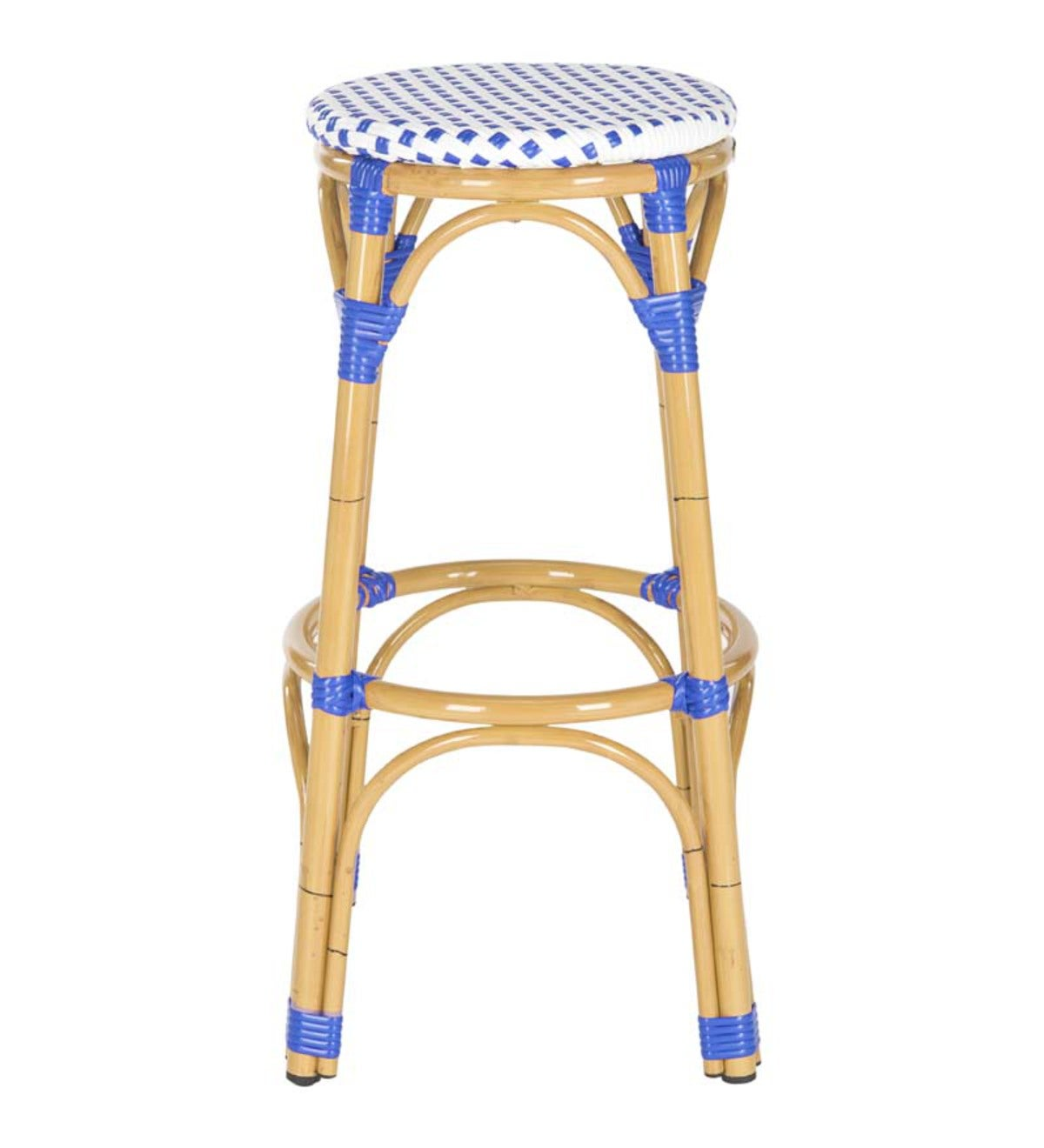 Two-Toned Bamboo Indoor/Outdoor Bar Stool - Blue