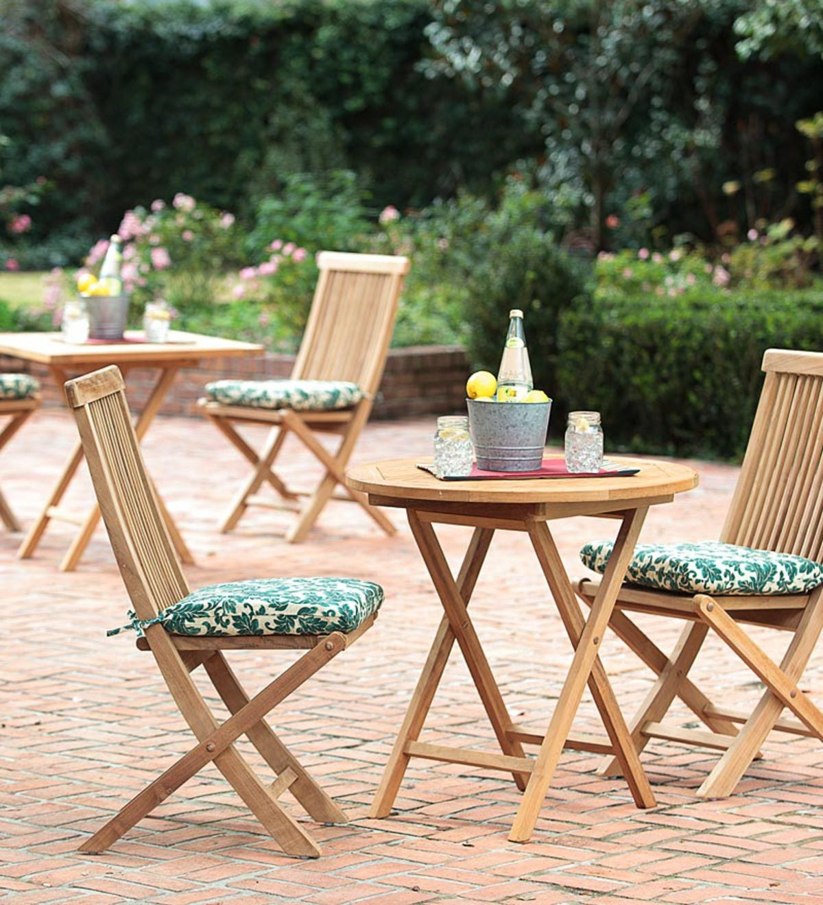 Plantation Grown Solid Teak Outdoor Folding Bistro Set Round Table And 2 Side Chairs Plowhearth