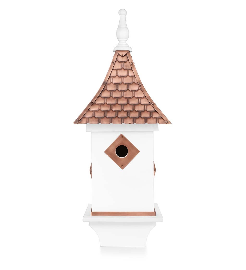 White Villa-Style Birdhouse with Hand-Hammered Copper Roof and Accents