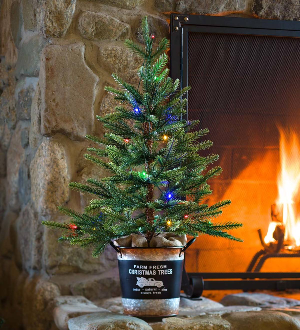 Lighted Tabletop Spruce Tree with 20 Multicolor Lights and Galvanized Bucket