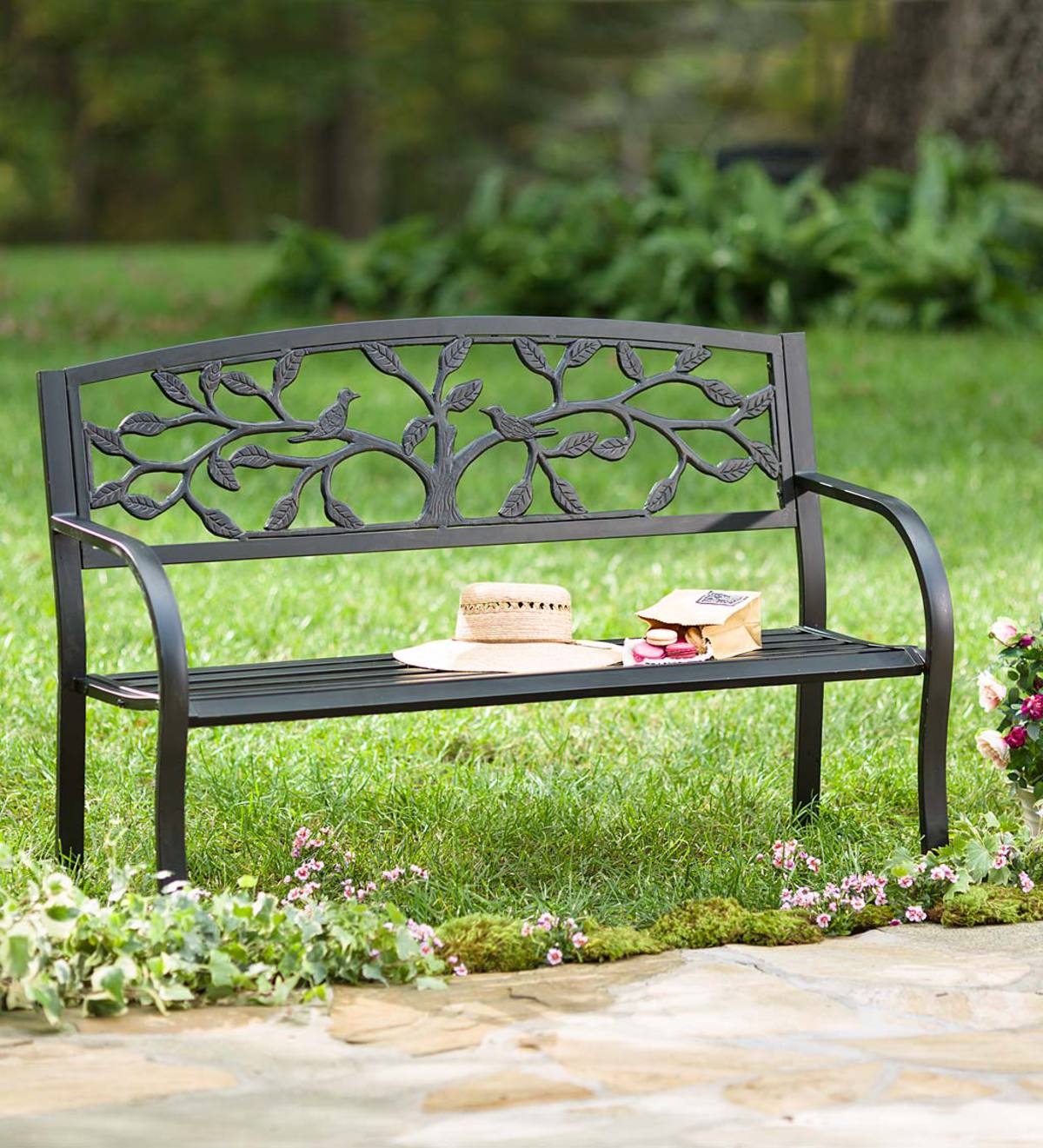 Tree Of Life Metal Garden Bench Black Plowhearth