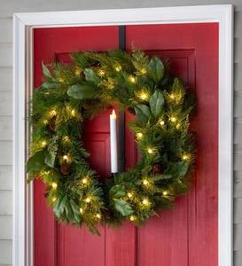 Adjustable Over-Door Wreath Hanger with Candle Holder