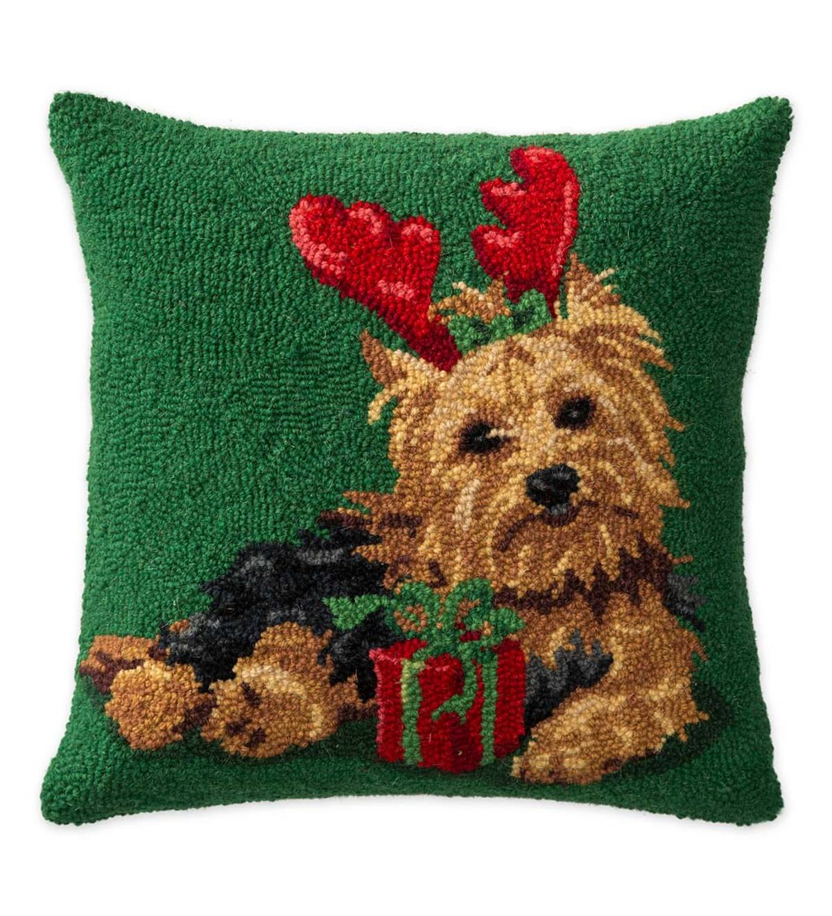 Hooked Wool Yorkshire Terrier With Christmas Present Holiday Throw Pillow Plowhearth